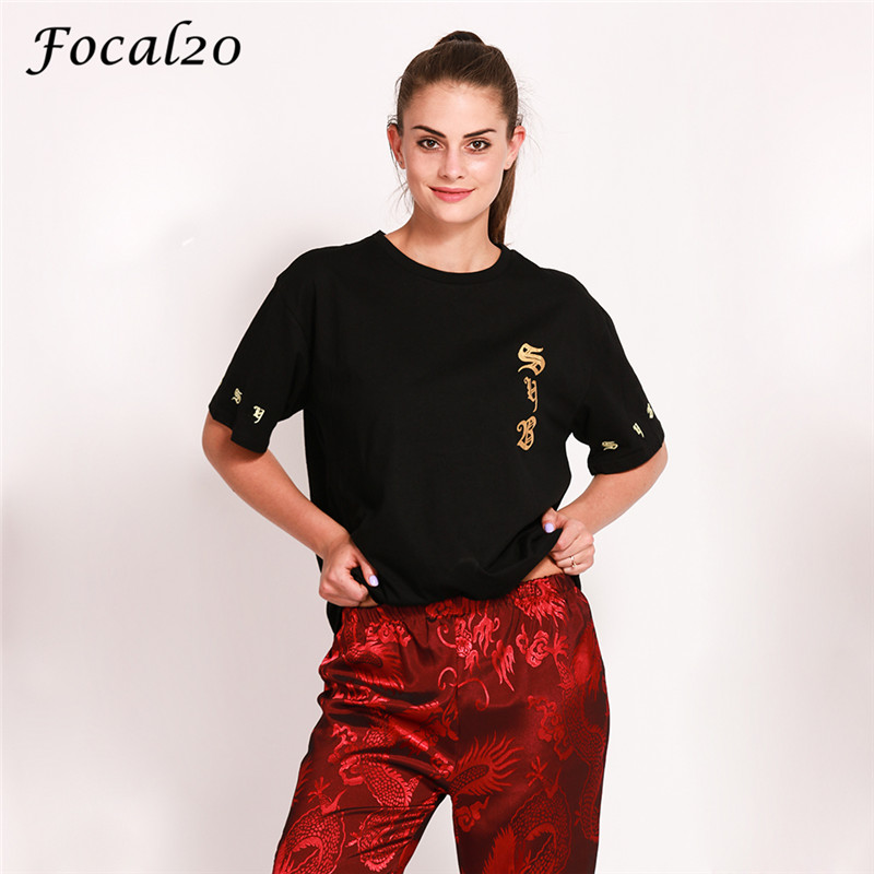 Focal20 Harajuku Gold Rose Print Women T-shirt Summer Short Sleeve Loose T Shirt Tee Top Streetwear