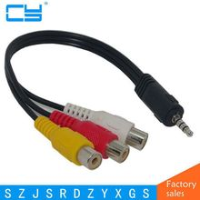 25CM 3.5MM Jack to 3 RCA Male Plug Adapter Audio Converter Video AV Cable Wire Cord