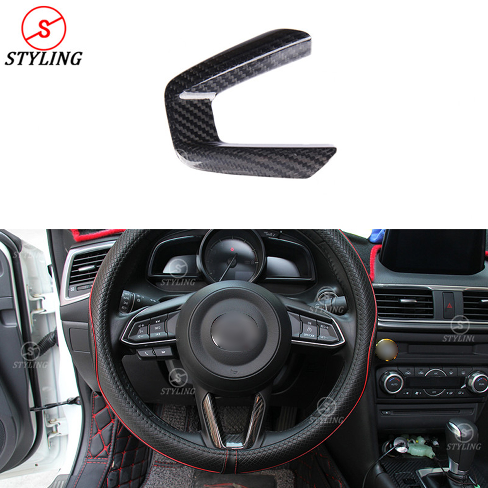 For Mazda Carbon Steering Wheel Patch Trim Cover CX-3 CX-5 CX-8 CX-9 Interior Trim For Decoration Add on Style car sticker 2017+ tomefon new wood grain steering wheel interior accessories for mazda 3 mazda 6 cx 5 cx 9 cx9 2017 2018 car interior styling