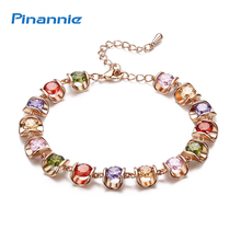 Pinannie Gold Color AAA Zircon Bracelets Jewelry for Women Wedding Party Gifts