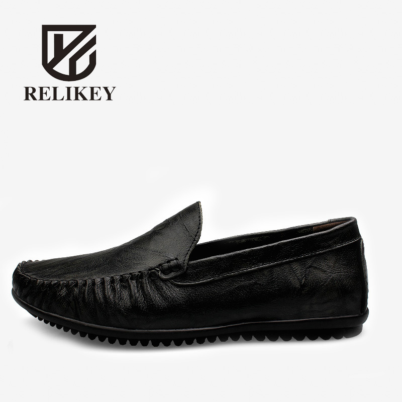 RELIKEY Brand Men Loafers Spring Handmade Genuine Leather Driving Shoes Slip-On Cow Soft Leather Male Loafers Casual Moccasins relikey brand men casual handmade shoes cow suede male oxfords spring high quality genuine leather flats classics dress shoes