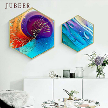 Nordic Modern Style Bright Color Hexagonal Decorative Painting Paintings for Living Room Wall Poster Scandinavian