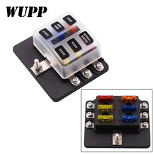 Wupp Fuse 6 Ways Block Holder Circuit Car Fuse Box With Cover Led Indicator 32V Quick Connect Screw Terminal Fuse Box Holder 24k gold plated 3 5mm male to male flat audio connection cable white 100cm