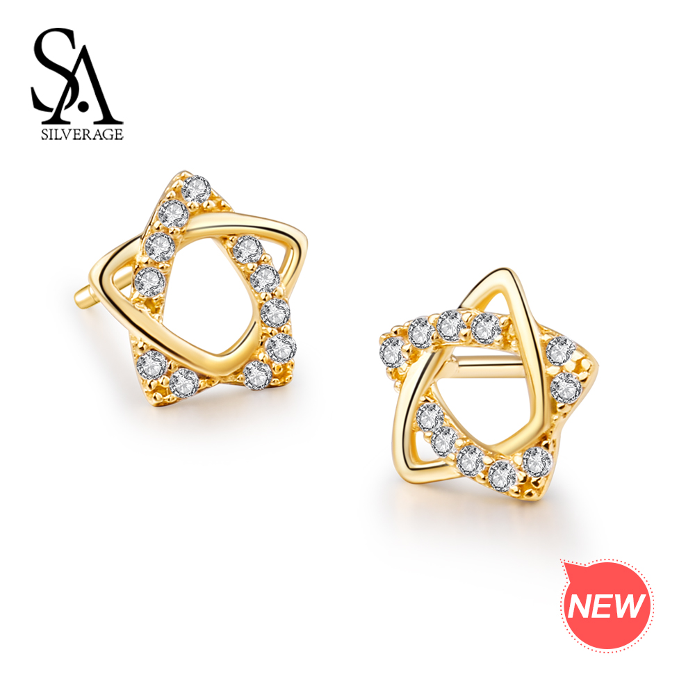 SA SILVERAGE 9K Yellow Gold Star Stud Earrings for Women AAA Zirconia K-Gold Earrings Earrings 2018 Fashion 925 Silver Earrings pair of stylish rhinestone triangle stud earrings for women