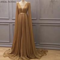 Long Gold Chiffon Womens Evening Dress 2018 Kaftan Dubai Formal Evening Gowns With Belt Vestido Longo