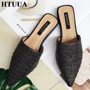 Image 4 - HTUUA 2019 kadın terlik moda sivri burun örgü katır ayakkabı düz slaytlar yaz plaj Flip Flop dış bağcıksız ayakkabı SX1964