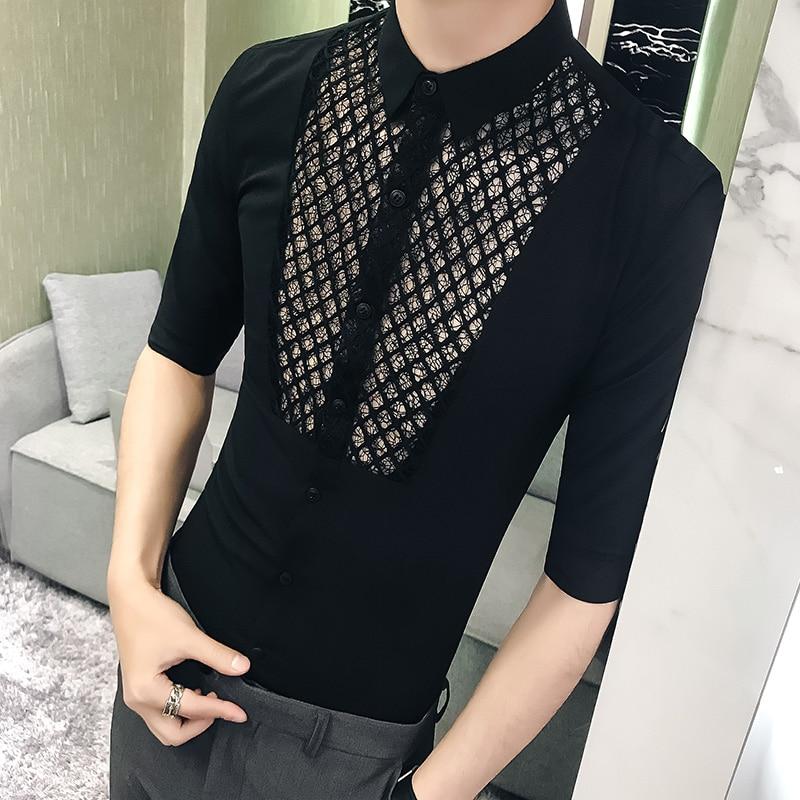British Men Shirt Casual Fashion 2020 Summer Sexy Lace Shirt Mens Dress Designer Slim Fit Half Sleeve Nigth Club Social Shirts