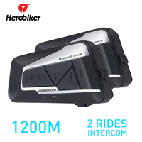 HEROBIKER 2 Sets 1200M BT Motorcycle Helmet Intercom Waterproof Wireless Bluetooth Moto Headset Interphone FM Radio