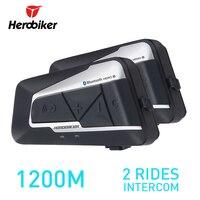 HEROBIKER 2 Sets 1200M BT Motorcycle Helmet Intercom Waterproof Wireless Bluetooth Moto Headset Interphone FM Radio