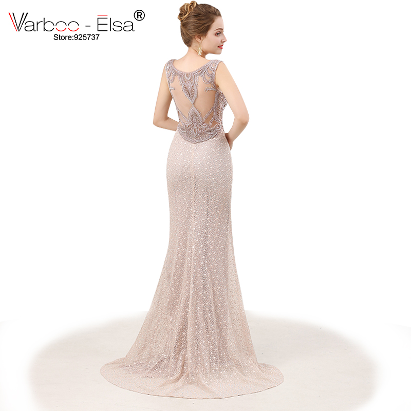 VARBOO_ELSA Sexy Illusion Mermaid Long Prom Dress 2018 Beige Lace robe de soiree Crystal Beading Luxury Evening Dresses vestido ...