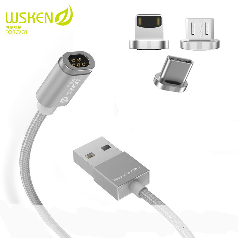 WSKEN mini 2 3 in 1 Type C Micro USB Magnetic Data Cable Fast Charging Charger Adapter For iphone 8 7 Plus Samsung Xiaomi Google