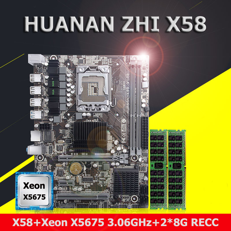 Buy discount motherboard bundle brand HUANAN ZHI X58 motherboard with CPU Intel Xeon X5675 3.06GHz RAM 16G(2*8G) DDR3 REG ECC