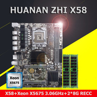 Compre desconto placa mãe pacote marca huanan zhi x58 placa mãe com cpu intel xeon x5675 3.06 ghz ram 16g (2*8g) ddr3 reg ecc Placas-mães     -