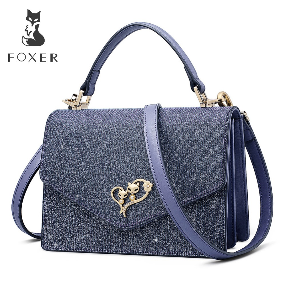 FOXER 2019 New Design Women Glossy classical Leather Messenger Bags Lady Stylish Evening bag Female Valentine
