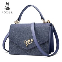 FOXER 2019 New Design Women Glossy classical Leather Messenger Bags Lady Stylish Evening bag Female Valentine's Day present stylish women s evening bag with leopard print and plaid design