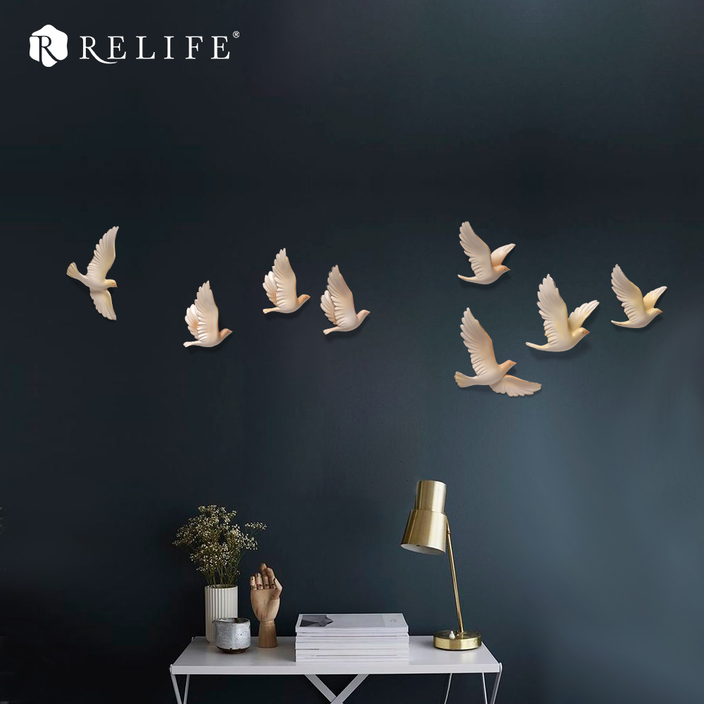 DIY 8pcs 3D Resin Birds Furniture Accessories Home Decorative Wall Stickers Sofa Background Wall Murals chic diy crescent and star pattern home decoration decorative wall stickers