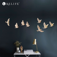 DIY 8pcs 3D Resin Birds Furniture Accessories Home Decorative Wall Stickers Sofa Background Wall Murals