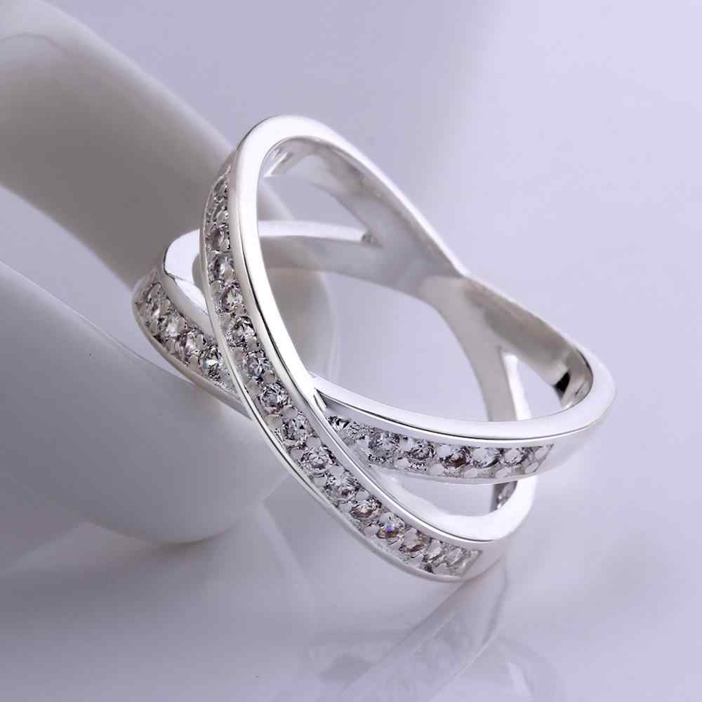 High Quality Romantic Jewelry Genuine Round Cut White Cz Ring For Women  Fashion Silver Plated Cross X Two Circles Ring Men