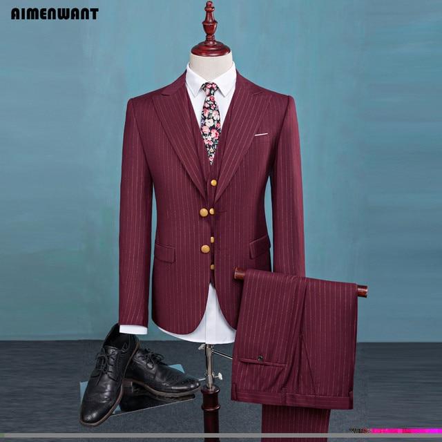 9800a69c2a AIMENWANT Brand Odzież męska Zestaw Czerwone Paski Garnitur Ślubny 3 Sztuka  Luzacy Białe Garnitury Męskie Kostiumy