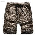 Mens Onda Del Verano Impresión Del Leopardo 5 Puntos Cortos Pantalones Cortos Casuales Masculino Ocio Cordones Cortos de Playa Bermudas Masculina J1134