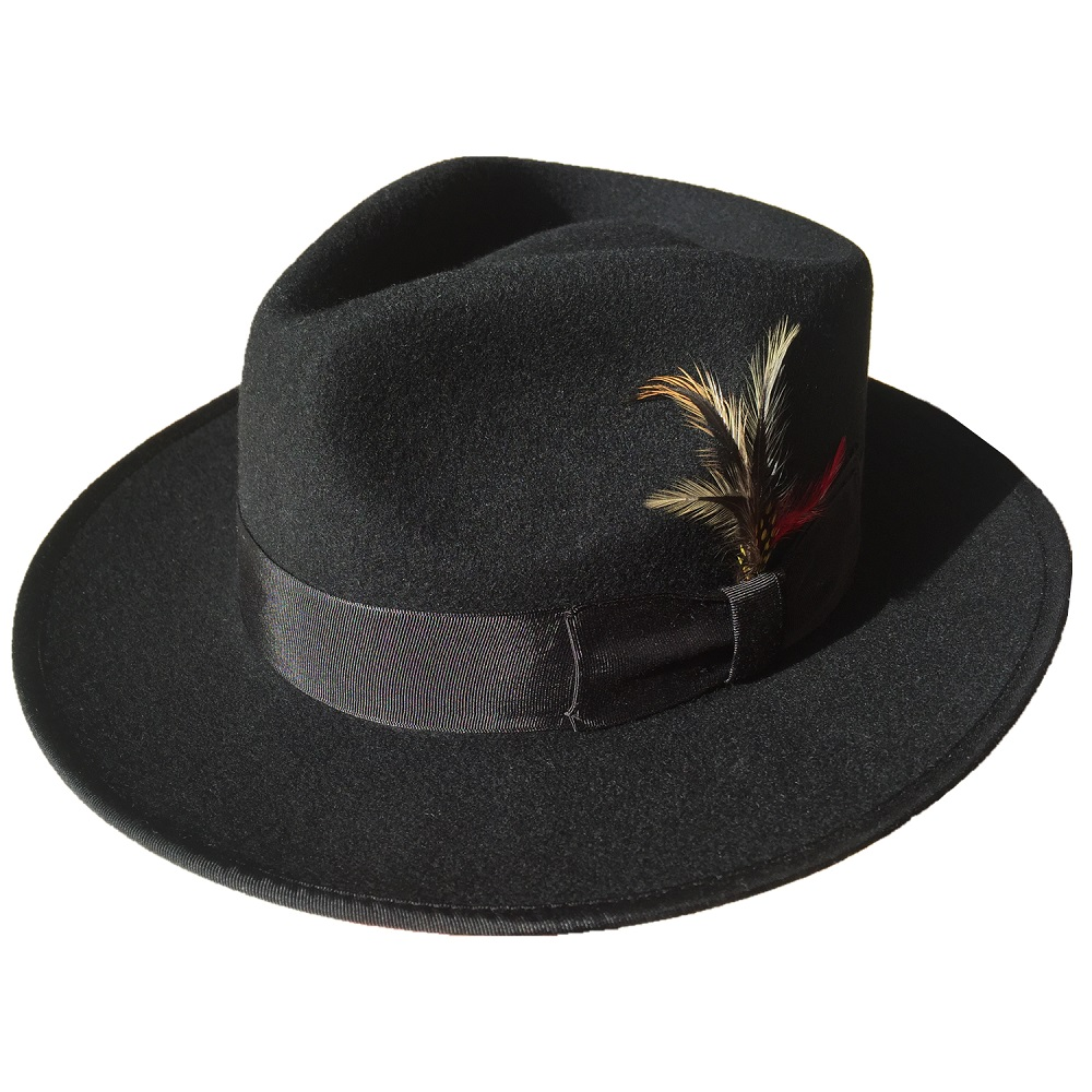 Classic Black Wool Felt Men s Felt Gangster Fedora Hat