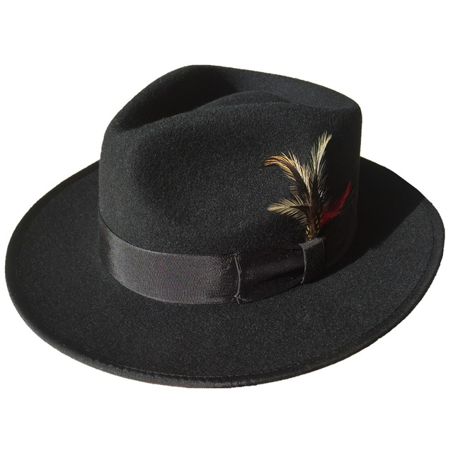Classic Black Wool Felt Men s Felt Gangster Fedora Hat-in Fedoras ... 054cd807dfd