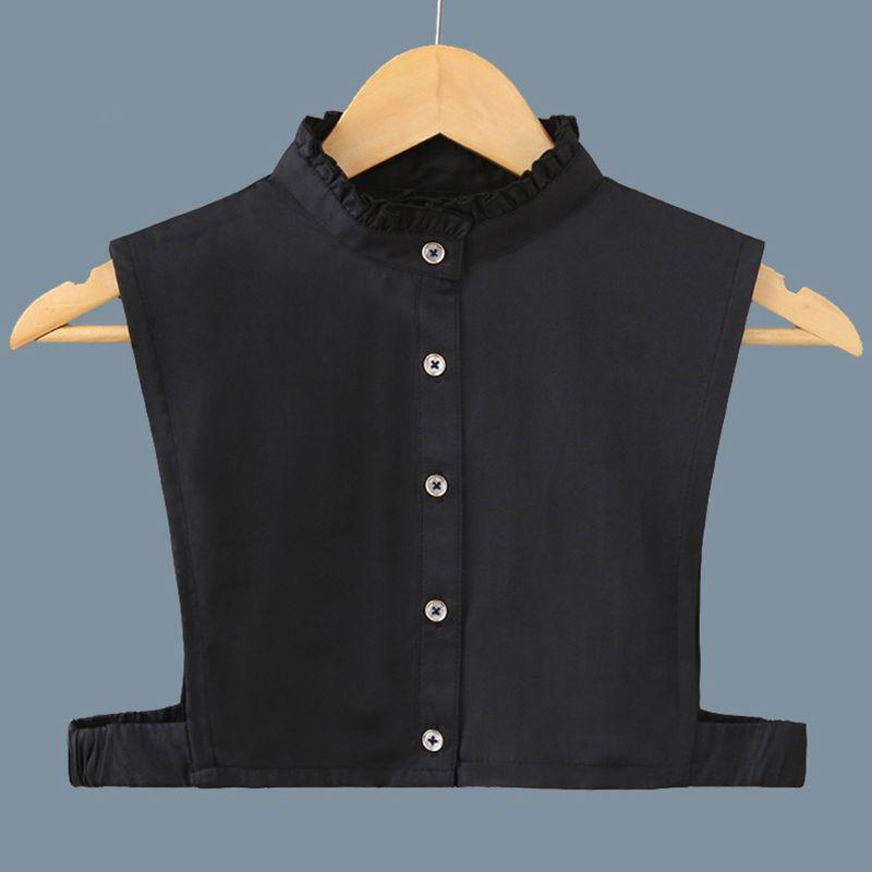 Women Solid Shirt Cotton Lace False Collars Detachable Fake Half Shirt Blouse