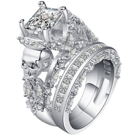 Luxury Male White Ring Set Punk Sets High Quality White Gold Filled Jewelry Vintage Engagement Rings