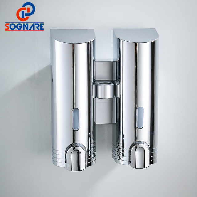 Sognare Dual Chrome Polish Soap Dispensers Wall Mounted Abs Liquid