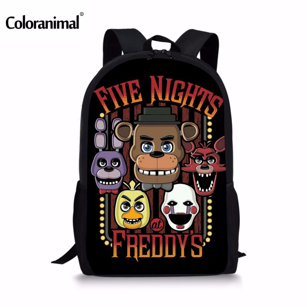 Coloranimal Five Nights At Freddy's Backpacks For Teenagers Girls Boys Children School Bags Kids Cartoon Freddys FNAF Chica Bag