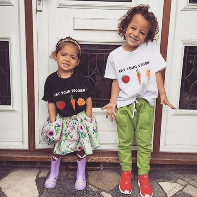 Kids Girls Short Sleeve T Shirts Ruffles Shirt Tee Jersey for 2-6T Carrot Eat Your Veggies