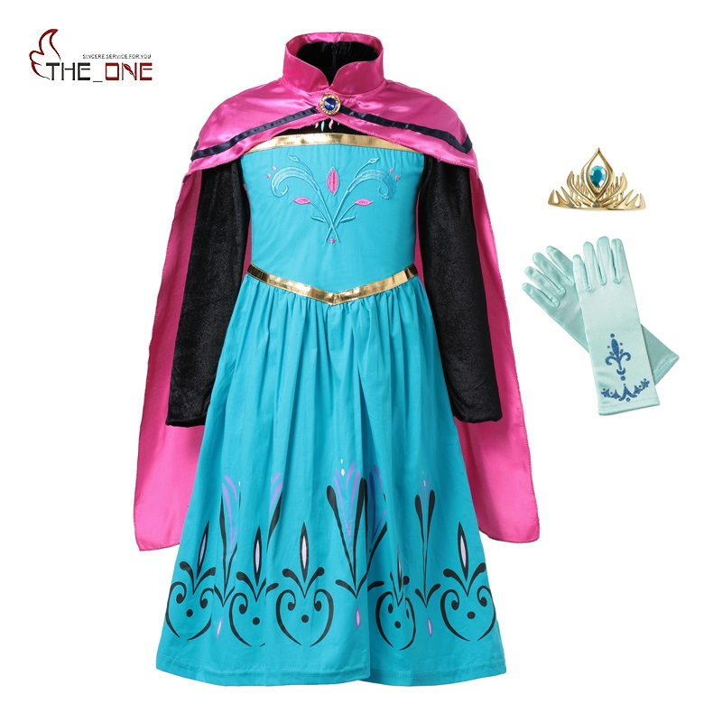 MUABABY Elsa Coronation Dress up Clothes Girl Snow Queen Flower Embroidery Cotton Anna Princess Party Cosplay Costume with Cloak 2014 costume adult elsa cosplay elsa the snow queen coronation outfit halloween costume for women fantasy dress free crown