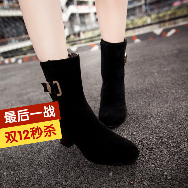 ФОТО New arrival 2016 zipper thick heel small 32 - 33 plus size 40 41 42 43 female boots free shipping