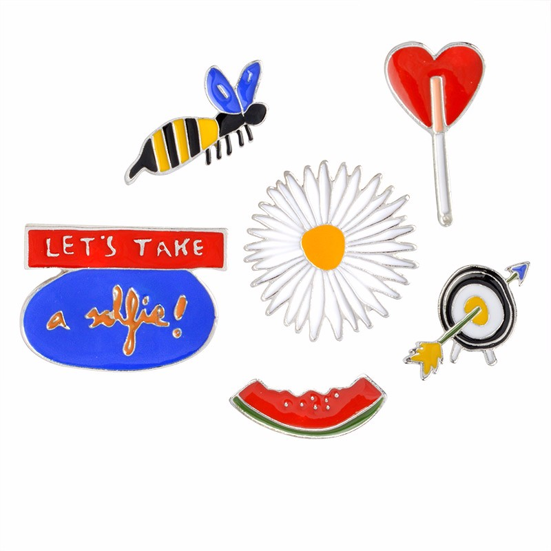 LETS TAKE a selfie Watermelon Bee Flower Smoking Target Brooch Button Pins Denim Jacket Pin Badge Fashion Jewelry Gift