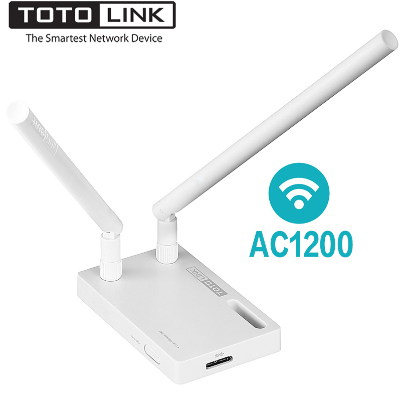 TOTOLINK A2000UA AC1200 Dual Band Wireless Wifi USB Adapter With 2*5dBi External Antenna, Highly Compatible Wi-Fi Network Card