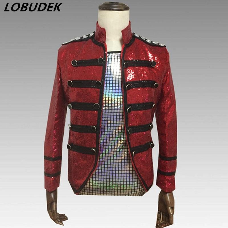 Tide Male Singer Vocal Concert Costume Sparkly Red Sequins Crystals Jacket Coat Nightclub Bar Dancer Punk Jazz Dance Outerwear