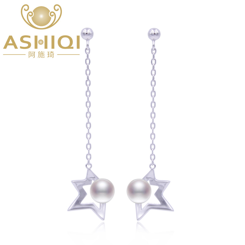 Ashiqi S925 Sterling Silver Natural Freshwater Pearl Earrings 5cm Drop 7 8mm Star Jewelry For Women In From Accessories On