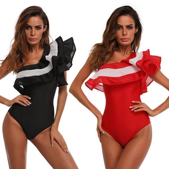 b37b926d90dee 2018 One Shoulder Ruffles One-piece Swimsuit Sexy Bodysuit Summer Black  White One Piece Bikini