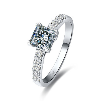 1Ct Classic Princess Cut Ring for Women Engagement 925 Sterling silver Diamond Ring White Gold Color