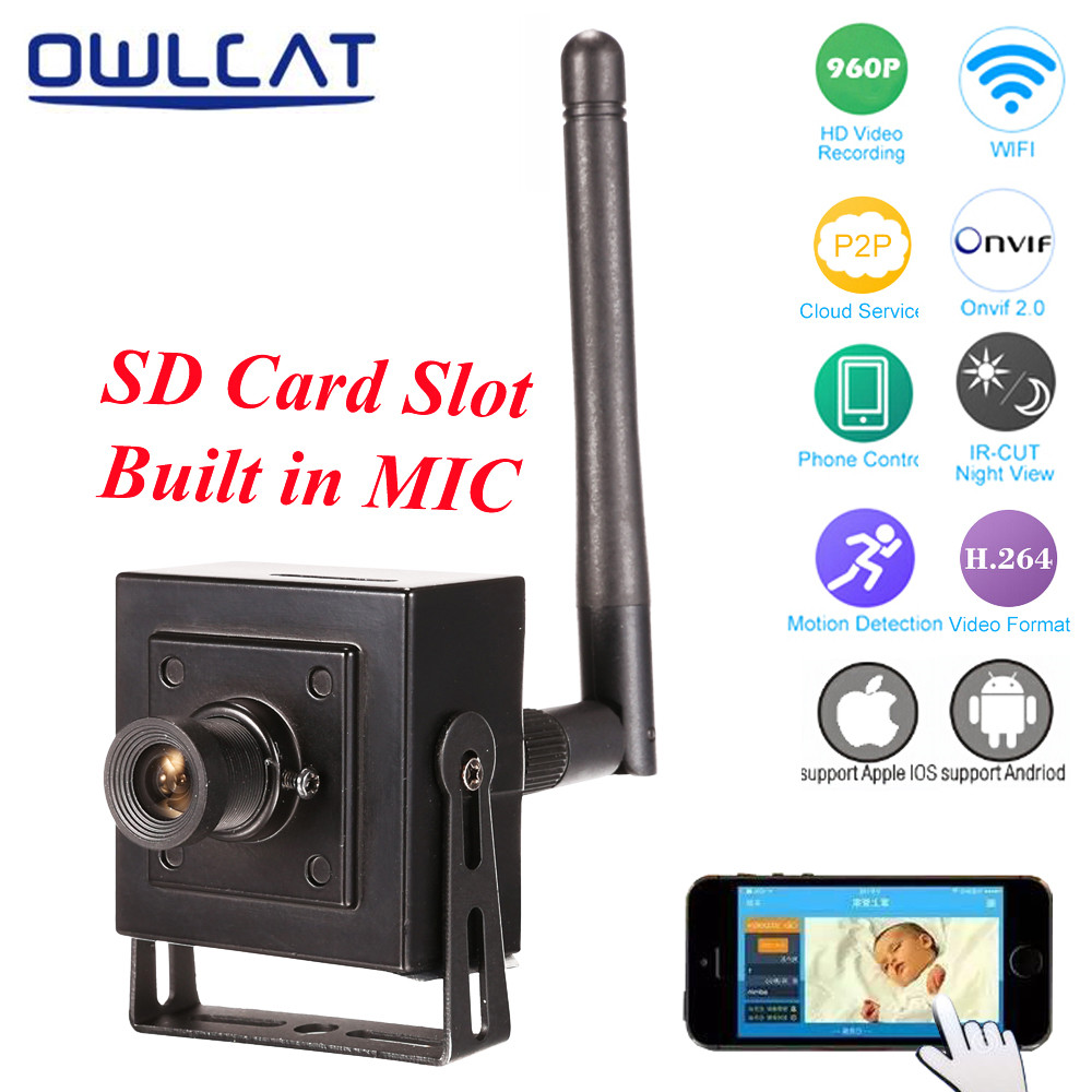 OwlCat Mini Wifi IP Camera Wireless HD 720P 960P P2P Security Video Surveillance Monitor Camera Built-in Microphone SD Card Slot