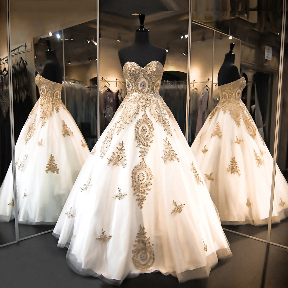 Gold ball gown promotion shop for promotional gold ball for White and gold wedding dresses