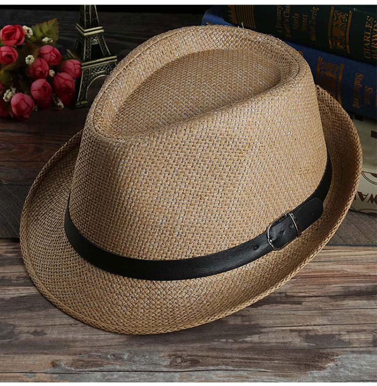 Palha Panamá Jazz cap Casual Chapéus de Sol dos homens para Homens Verão  moda Fedora Chapéu de Praia para o Sexo Masculino Viseira Caps para Cinto  decorado ... 5807c440011