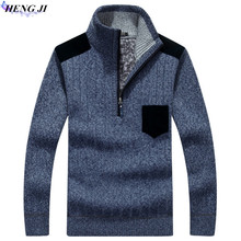 HENG JI Men's pullover pullovers, thickened and fleeced fleece sweaters, loose knitwear, high quality, free shipping