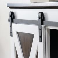 Kinmade J Form Mini Schrank Schiebe Barn Door Hardware Kit Einzigen Holz Tür Schrank Tv ständer Wand Schrank Hardware (einzel tür)-in Rutschen aus Heimwerkerbedarf bei