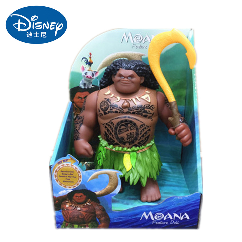 Disney Toys Movie Moana Waialiki Maui 20cm Doll Model with Music Action Figure Cosplay Children's Birthday Gift Christmas Gift
