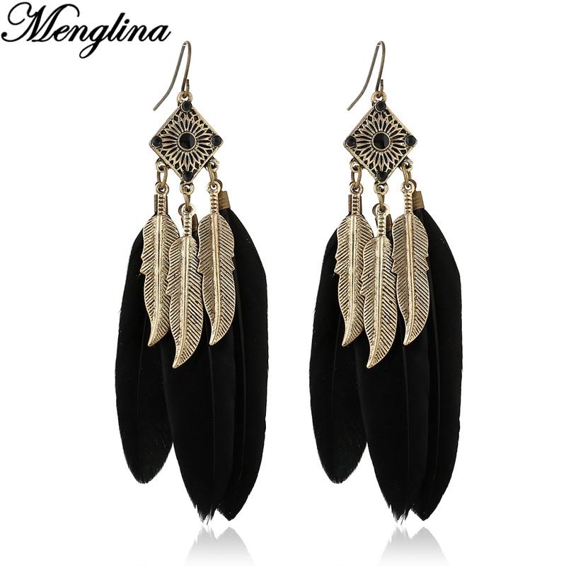 Fashion Bohemian Vintage Metal Leaves Earrings for Women Black Feather Earrings Boucle d oreille Femme Pendante
