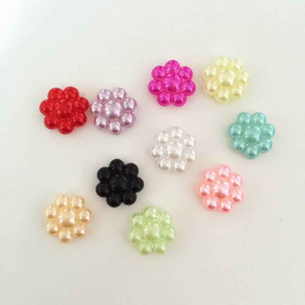 1000 pieces/lot 10mm MIXED plastic flower Bead flatback Scrapbook/ Craft Flatback Beads DIY B04A*10