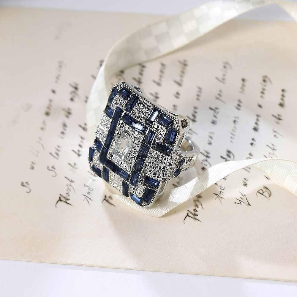ยุโรปยุ้ย sapphire ผู้หญิงคริสตัลเงิน Cubic Zirconia แหวนเครื่องประดับของขวัญเครื่องประดับแหวนผู้หญิงที่ละเอียดอ่อนของขวัญ