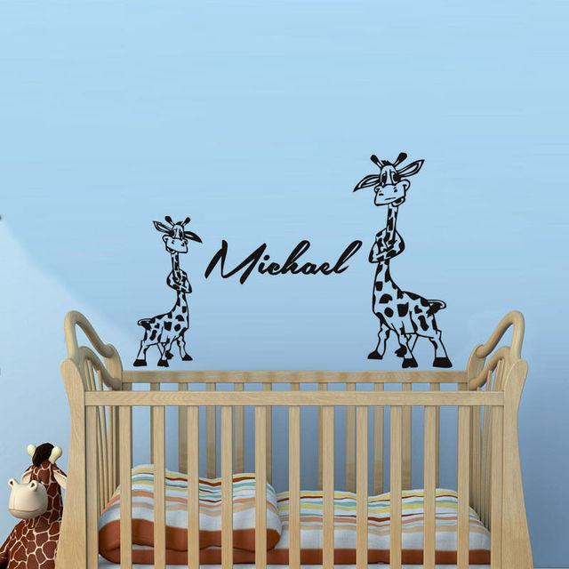 Two Lovely Giraffe Wall Stickers Personalized Names Removable Baby ...