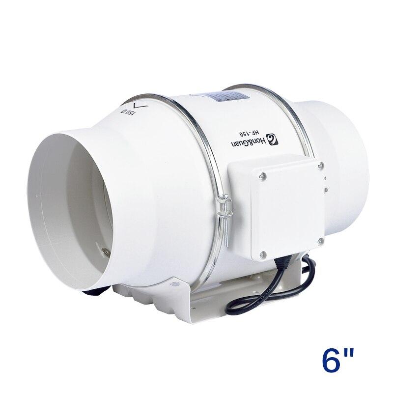6 turbo fan inline duct fan ventilation fan for round pipe exhaust fan air extractor for bathroom kitchen ventlator 220v